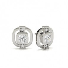 Full Bezel Round Diamond Designer Earrings