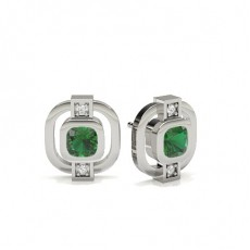 Full Bezel Setting Emerald Designer Earring