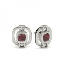 Cushion White Gold Gemstone Diamond Earrings