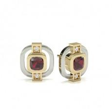 Cushion Yellow Gold Gemstone Earrings