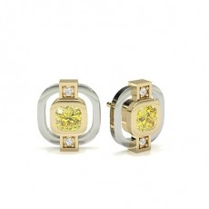 Round Yellow Gold Yellow Diamond Earrings
