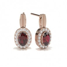 Oval Rose Gold Gemstone Diamond Earrings