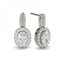 Oval Silver Halo Earring
