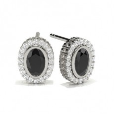 Oval White Gold Black Diamond Earrings