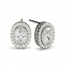 Full Bezel Setting Halo Stud Earrings