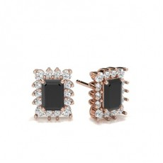 Emerald Rose Gold Black Diamond Earrings