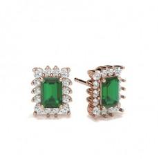 Emerald Rose Gold Gemstone Earrings