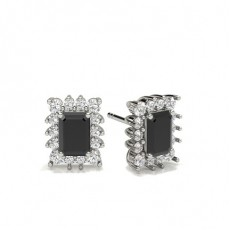 Emerald Silver Black Diamond Earrings