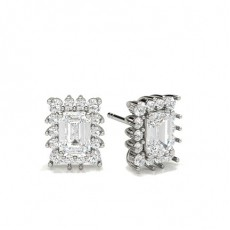 Emerald Platinum Halo Diamond Earrings