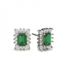 Emerald Silver Diamond Earrings