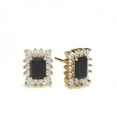 Emerald Yellow Gold Black Diamond Earrings