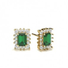 Emerald Yellow Gold Gemstone Earrings