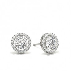 Round Silver Halo Earrings
