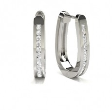 Channel Setting Round Diamond Hoop Earrings