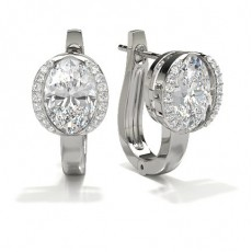Full Bezel Setting Oval Diamond Hoop Earrings