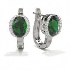 Full Bezel Setting Emerald Hoop Earring