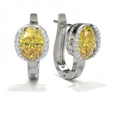 Bezel Set Yellow Diamond Hoop Earring