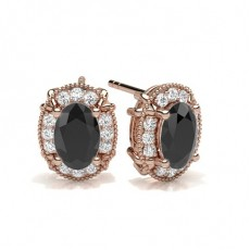 Oval Rose Gold Black Diamond Earrings
