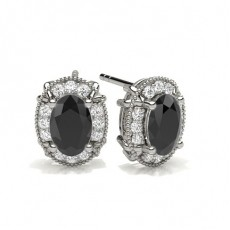Oval Silver Black Diamond Earrings