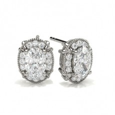 Oval Silver Halo Earrings