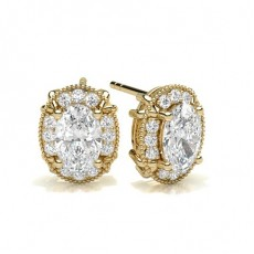 Oval Yellow Gold Halo Earring