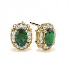 Oval Yellow Gold Gemstone Diamond Earrings