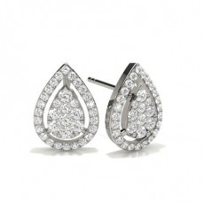 Illusion Setting Round Diamond Cluster Earrings