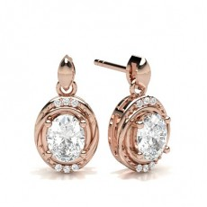 Oval Rose Gold Halo Earring