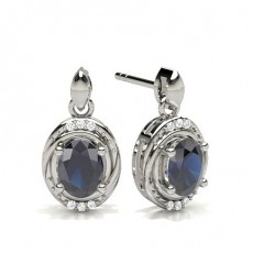 Oval Silver Gemstone Diamond Earrings