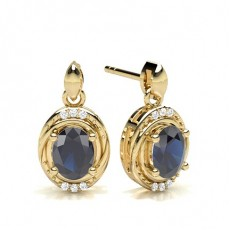Oval Yellow Gold Diamond Earrings