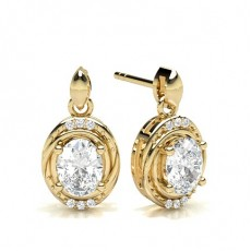 Oval Yellow Gold Halo Earrings