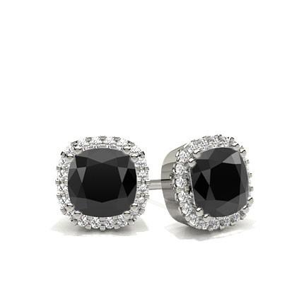 8 G Setting Black Diamond Halo Stud Earrings
