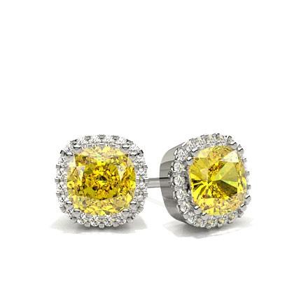 8 G Yellow Diamond Halo Stud Earrings