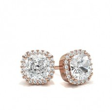 Cushion Rose Gold Halo Earrings