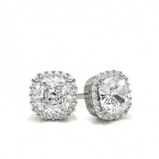 8 Prong Setting Halo Stud Earrings