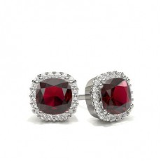 8 Prong Setting Ruby Halo Earring