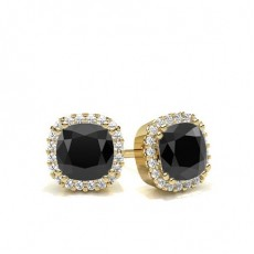 Cushion Yellow Gold Black Diamond Earrings