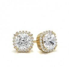 Cushion Yellow Gold Halo Diamond Earrings