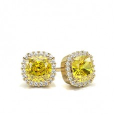 Cushion Yellow Gold Diamond Earrings