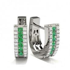 Round Platinum Gemstone Diamond Earrings