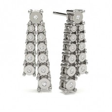 Round White Gold Cluster Diamond Earrings