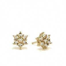 Round Yellow Gold Cluster Earrings