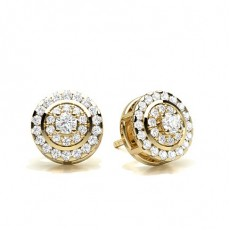 Prong Setting Round Diamond Cluster Earrings