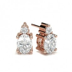 Oval Rose Gold Stud Diamond Earrings