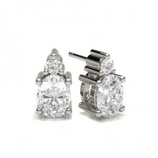 Oval White Gold Stud Diamond Earrings