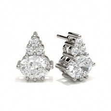 4 Prong Setting Oval Diamond Cluster Earrings