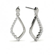 2 Prong Setting Round Diamond Designer Earrings