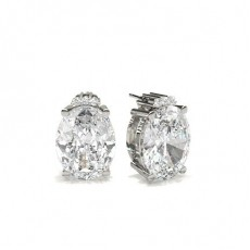 4 Prong Setting Oval Diamond Designer Earrings