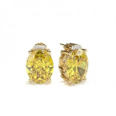 Oval Yellow Gold Designer Diamond Earrings