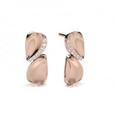 Round Rose Gold Cluster Earrings
